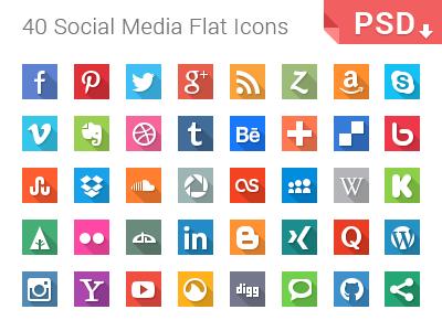 40 Social Media Flat Icons flat icons set social media icon minimal long shadow longshadow freebie download psd photoshop