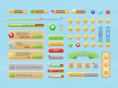 Mobile Game GUI gui game interface cartoon ui ui kit hud mobile colorful psd freebie