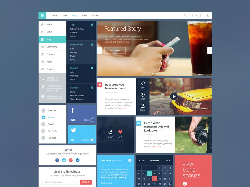 Blog/Magazine UI Kit #2 ui flat ui kit freebie psd blog grid web web design menu widget