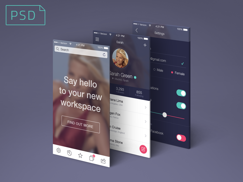 App Screens Perspective Mock-Up psd freebie mock-up screen perspective app ios apple free download