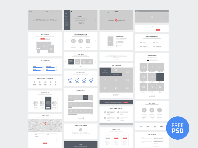One Page Website Wireframes wireframe freebies download free psd web website prototype portfolio