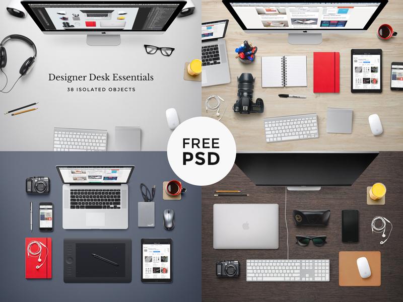 Designer Desk Essentials workspace psd mock-up desk freebie scene hero header device background free photoshop