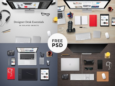 Designer Desk Essentials workspace psd mock-up desk freebie scene hero header device background free photoshop