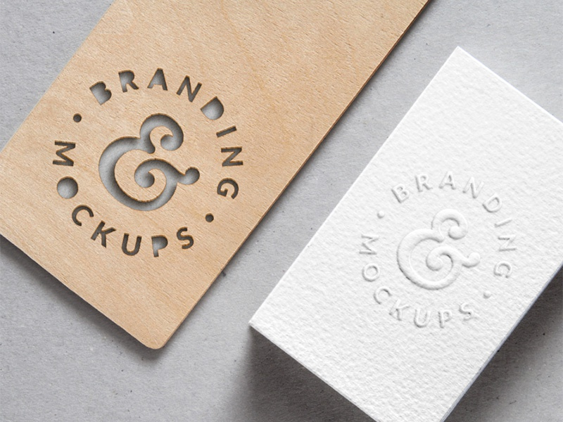 Cutout Wood & Embossed B-Card MockUp (Freebie) wood embossed cutout psd freebie free mockup download branding identity logo business card