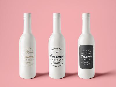 Ceramic Bottle Mockup (Free PSD) bottle freebie psd mock-up free ceramic