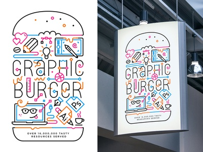 New freebie + fun illustration psd mock-up poster burger icon stroke line illustration