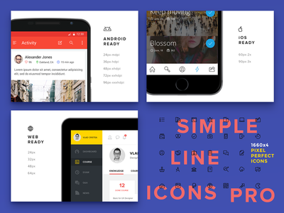 Simple Line Icons Pro - 1660x4 Pixel Perfect Icons ui icons minimal android icons ios icons icon set icon pack stroke icons outlined icons line icons icons icon