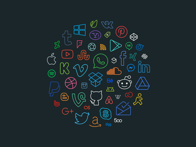 Simple Line Icons Pro - Social / Brands social media icons outlined icons icon pack icon set stroke icons icons icon line brand social media
