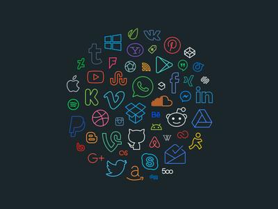 Simple Line Icons Pro - Social / Brands