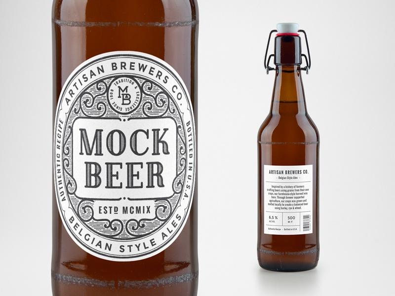 Artisan Beer Bottle Mockup craft packaging label mockup free freebie psd mock-up bottle beer