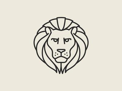 Lion Pictogram stroke outline line badge logo pictogram mark lion