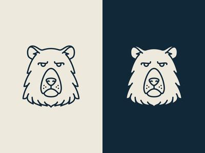 Bear Mark outline line badge logo animal pictogram mark bear