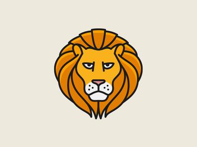 Lion Pictogram animal outline line badge logo pictogram mark lion