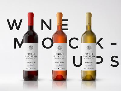 Wine Packaging Mockups #2 glass bottle winery branding label mock-up psd mockup packaging wine