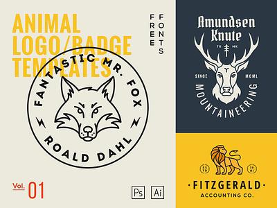 Animal Logo Templates Vol.1 fox deer lion pictogram badge mark template logo animal