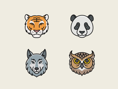 More Animal Marks tiger panda owl wolf pictogram badge mark template logo animal