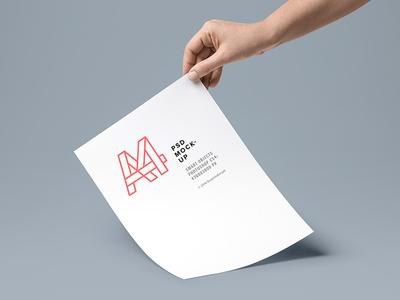 A4 Paper Mockup hand stationery letterhead mock-up free freebie psd mockup paper