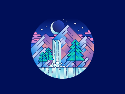 Waterfall mountains gradients badge waterfall