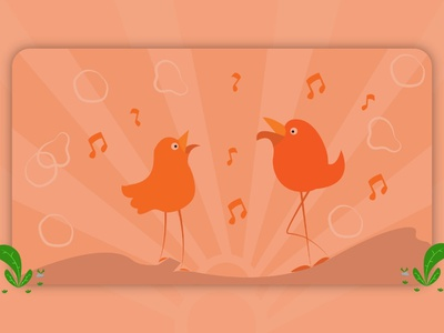 Singing bird theme ui concept art vector design illustration concept design banner design design vector vector illustration poster art poster design postal card