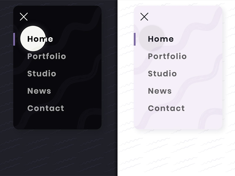 Drop-down menu creative menu design animated css3 html5 cursor drop-down concept light dark navigation menu
