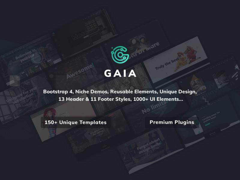 Gaia | A High Performance Creative Template retina ready animated creative design blog portfolio template parallax css html responsive bootstrap 4