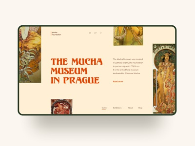 The Mucha Museum in Prague Concept typography exhibition gallery prague web design ui figma mucha alphonse mucha art nouveau museum art