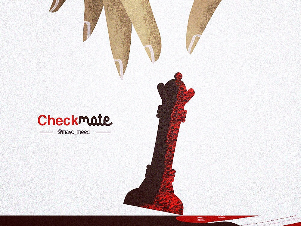 Checkmate woman win charachter design cartoon art black and red strategy queen checkmate chess design brand vector illustration branding nigeria photoshop mayomide mayomeed aina-badejo