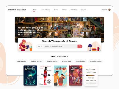 Search for thousands of books dukagjini bookstore librariadukagjini web design illustration reading books library website interface interaction design user interface user experience ux ui