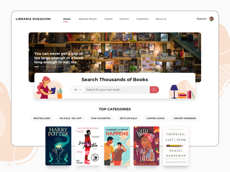Search for thousands of books dukagjini bookstore librariadukagjini web design illustration reading books library website interface interaction design user interface user experience ux ui