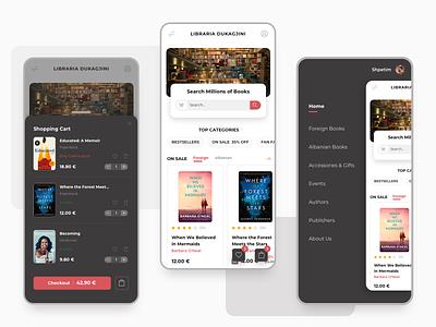 Book Store Mobile dukagjini shop buy books shopping app shopping cart store reading books bookstore app design app interface interaction design user interface user experience ux ui