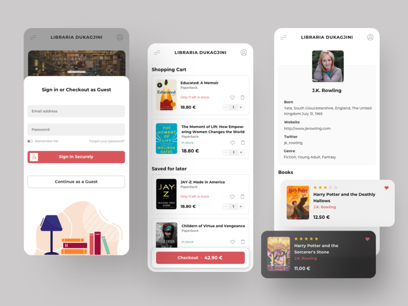 Book Shopping Screens mobile ui profile ios design mobile app design mobile app login profile page books book store shopping cart app interface interaction design user interface user experience ux ui
