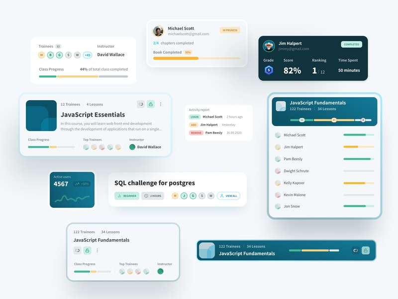 track eLearning Platform - Cards cards ui ia card design scores grades challenges elearning translation elearning courses class elearning components cards dashboard app interface interaction design user interface user experience ux ui
