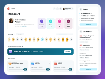 Trainee Dashboard activity calendar courses discussions notes trainee elearning courses classes elearning edtech learning desktop dashboard app interface interaction design user interface user experience ux ui
