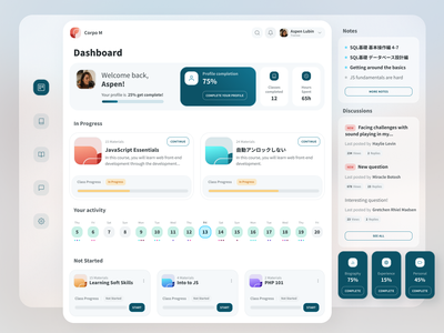 Completion & Activity Overview comments figma discussions calendar classes activity profile completion dashboard app interface interaction design user interface user experience ux ui