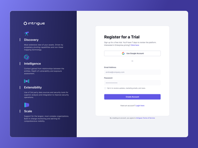 Intrigue Sign In / Sign Up platform enterprise ux enterprise sign up sign in dashboard app interface interaction design user interface user experience ux ui