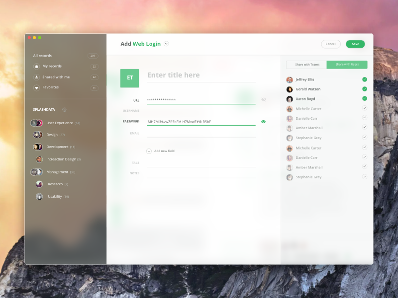 Add New Record - Password Manager for Mac app mac ux ui user interface user experience interface interaction design details list password manager