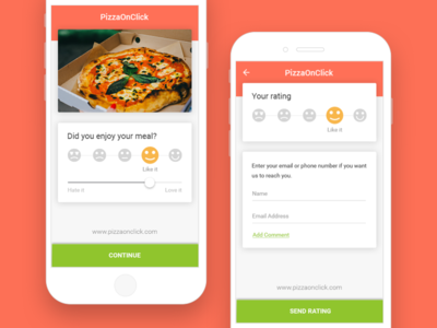 Rate our Services progressive disclosure mobile ratings experience emojis pizza meal slider rate ui ux