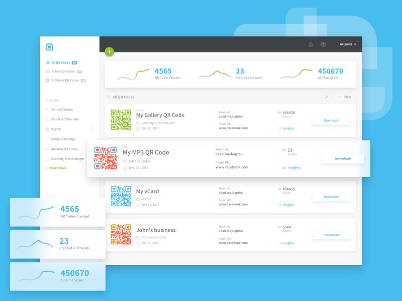 Dashboard Redesign qrcodes manage stats analytics redesign design ui ux dashboard