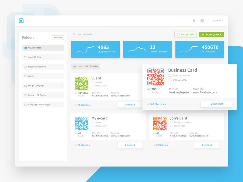 QR Codes Dashboard - Card View qr codes cards ux ui stats redesign qrcodes manage design dashboard analytics