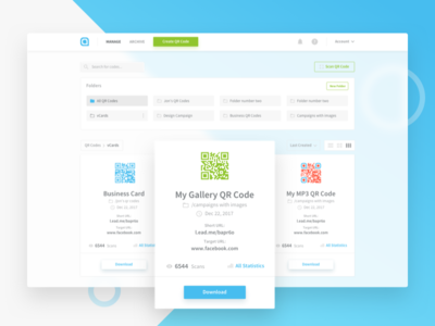 QR Codes - Dashboard Exploration qrcodes grid ux ui stats redesign qr manage folders design dashboard