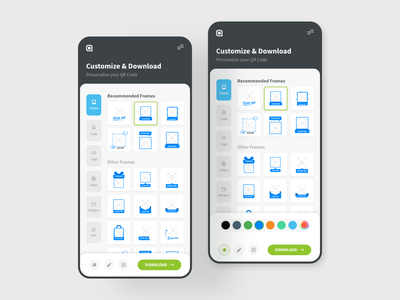 Customize & Download qrcode download customize tool app interface interaction design user interface user experience ux ui