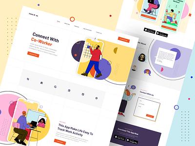 Mobile App Landing Page 2020 trend color web vector ui ux illustration graphic design flat design landing page creative minimal concept clean character app ui