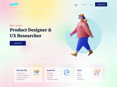 Personal Portfolio Website blurred background glassmorphism 2021 trend creative hero portfolio website personal portfolio portfolio 3d dribbble best shot design color ux ui landing page clean minimal