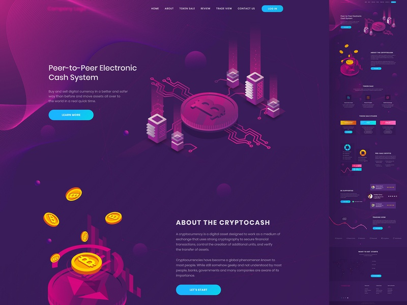 Peer to peer electronic cash system landing page design landing page ux ui web template finance financial map landing page design minimal clean gradient bitcoin wallet token branding payment crypto exchange design crypto currency crypto debut