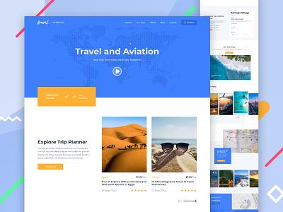 Travel Landing page blog uxdesign uidesign web agency traveling travel branding ux ui design color minimal landing page clean