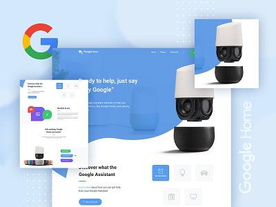 Google Home Landing Page web design trend 2019 ux-ui ux ui minimal google product landing page google home google gmail dribbble best shot 2019 trend