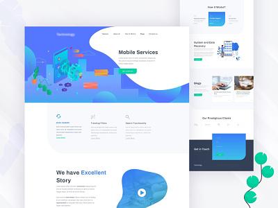 Mobile Services mobile service branding agency color ux-ui 2019 trend clean ux ui landing page minimal