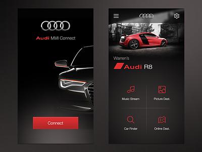 Audi MMi Connect App UI wlebovics ui ux interaction interface car audi connect app iphone 6