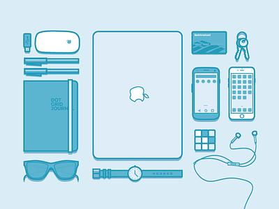 Workspace Essentials workspace essentials illustration macbook iphone notebook rubix cube wlebovics mouse apple watch icons