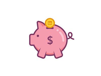 LinkedIn Piggy Bank Sticker linkedin pig illustration dollar money piggy bank sticker wlebovics